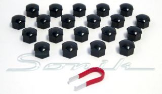 20 Black Cap Covers for Wheel Lug Nut Bolt 17mm Hex