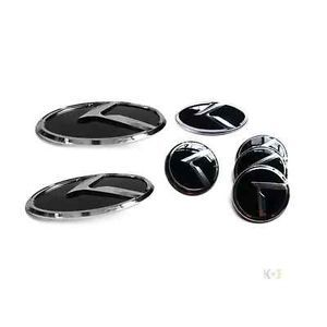 3D K Logo Emblem Badges 7pc Set Front Rear Steering Wheel Caps Fit Kia Soul