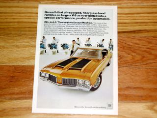 1970 Oldsmobile Cutlass 442 W25 Print Ad Poster Sign w 25 455 V8 Engine 1971