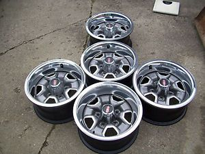 "Set of 5 Oldsmobile 442 Rally Wheels 14 "" x 7"" Bolt on Center Cap"