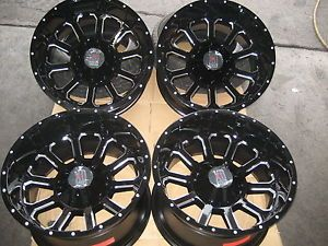 "20""x12 Gloss Black Machine KMC XD806 Bomb Wheels Rims 2011 2012 GMC Chevy Fuel"