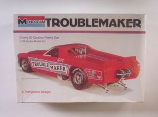 Troublemaker El Camino Funny Car Drag Chevy Monogram 1 24 Model Kit SEALED 8283