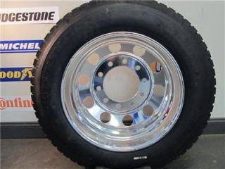 6 New 255 70R22 5 Truck Tires 22 5 Aluminum Wheels Dually Big Wheel Package