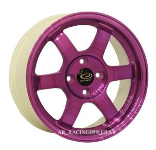 Rota Grid 15x6 5 4x100 38 Purple Civic Integra Miata Del Sol Fit CRX XB