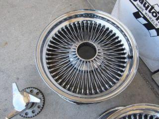 """Corvette 17"""" inch Dayton 100 Spoke Wire Wheels 4 75"""" 5"""" Bolt Pattern Spinners"""