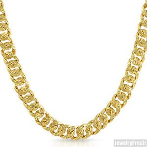 Canary Yellow CZ Hip Hop Iced Out Miami Cuban Mens Gold Plated Chain