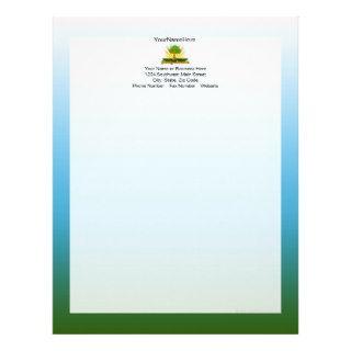 Custom Family Reunion, Green Tree with Sun Rays Customized Letterhead