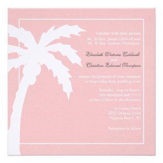 Tropical Palm Tree Wedding Invitation bubblegum