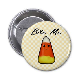 Bite Me, Cute Angry Candy Corn Cartoon Button