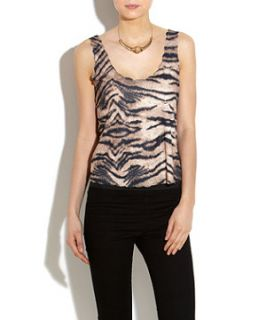 Te Amo Tiger Print Scallop Edge Vest Top
