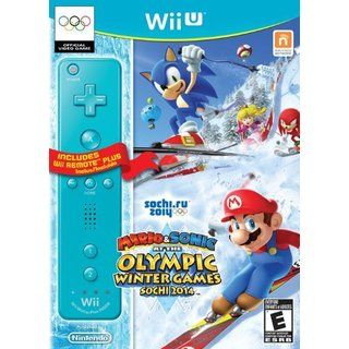 WII U   Mario & Sonic Sochi 2014 Olympic Winter Games with Blue Wii Remote Plus Nintendo Sports & Racing