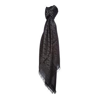 Fendi Jacquard Zucca Wool Blend Black/Silver Shawl Fendi Designer Scarves & Wraps