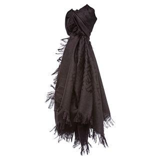 Fendi Chestnut Brown Oversized Zucca Silk and Wool Wrap Fendi Designer Scarves & Wraps