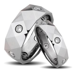 Tungsten Carbide Multi faceted Cubic Zirconia His and Her Wedding Band Set Men's Rings