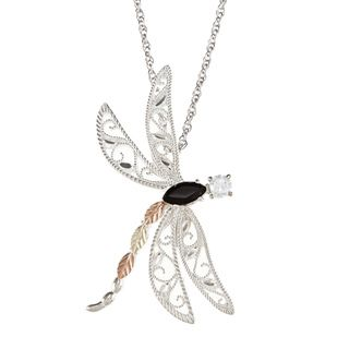 Black Hills Gold and Silver Onyx and Cubic Zirconia Dragonfly Necklace Black Hills Gold Black Hills Gold Necklaces