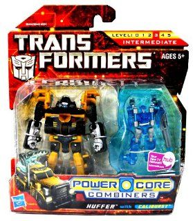 Hasbro Year 2009 Transformers Power Core Combiners Series 4 1/2 Inch Tall Robot Action Figure Set   Autobot HUFFER (Vehicle Mode: Rig Truck) with Mini Con CALIBURST: Toys & Games