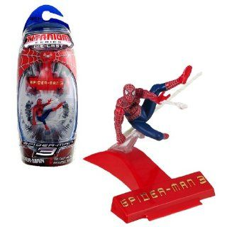 Hasbro Year 2007 Spider Man 3 Titanium Die Cast Series 3 Inch Tall Action Mini Figure  SPIDER MAN with Display Base Toys & Games