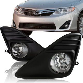 2012   2013 Toyota Camry Chrome Housing Black Bumper Cover Fog Light Lamps Kit: Automotive