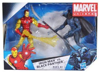 Marvel Universe Year 2009 EXCLUSIVE 2 Pack 4 Inch Tall Action Figure Set   IRON MAN with Fireblast vs. BLACK PANTHER with Long Handled Sword: Toys & Games