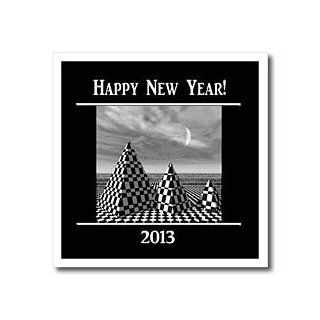 ht_62779_1 Beverly Turner New Years   Happy New Year 2013, Black and White Pyramids   Iron on Heat Transfers   8x8 Iron on Heat Transfer for White Material: Patio, Lawn & Garden