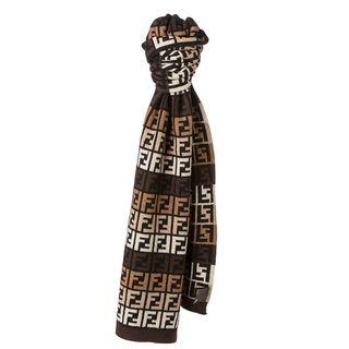 Fendi Brown and Beige Zucca Knit Scarf Fendi Designer Scarves & Wraps