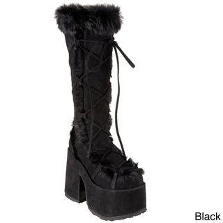 Demonia Women's 'Camel 311' Fur trim Gogo Boots Demonia Boots
