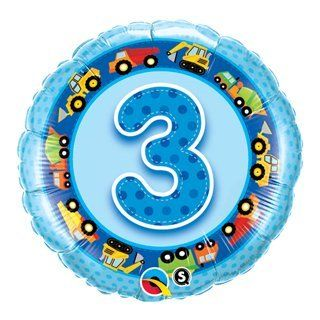 "BOY Number #3 3rd Three (1) 18"" TRUCKS Construction Birthday PARTY Mylar BALLOON: Health & Personal Care"