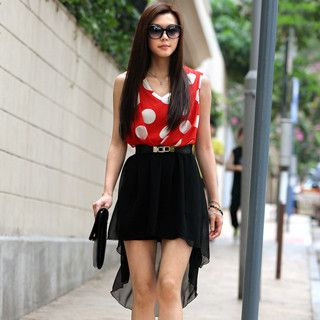 Polka Dot Chiffon Dress (Belt not Included), Red and Black , One Size   SO Central