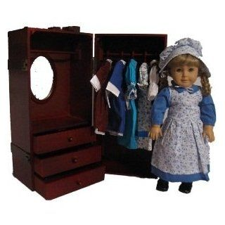 Wooden Doll Trunk Vanity Wardrobe for 18 Inch American Girl Dolls, Gotz: Toys & Games