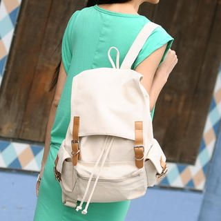 Contrast Buckled Canvas Backpack, Beige , One Size   SO Central