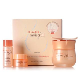 Collagen Moistfull Cream Set (Hydration & Lift): Cream 50ml + Essence 15ml + Massage 5ml, 3 pcs   Etude House