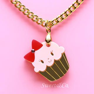 Miss Cupcake Strawberry Crystal Gold Necklace   Sweet & Co.