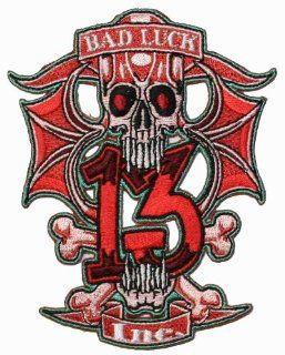 Bad Luck Skull Number 13 Iron On Biker Patch: Everything Else