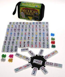 Mexican Train Double 12 Dominoes _ Travel Size _with Colored Numbers: Toys & Games