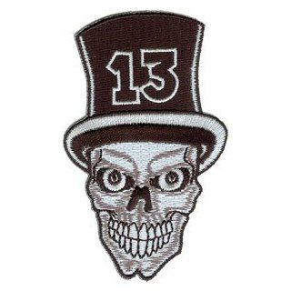 Novelty Iron on Patch   Skulls Top Hat Number 13 Skull Patch Logo: Clothing