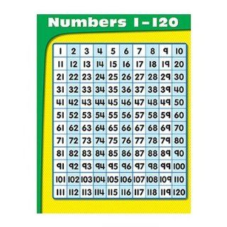 SCBCD 114201 20   NUMBERS 1 120 CHART pack of 20 : Themed Classroom Displays And Decoration : Office Products