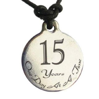 15 Year Sobriety Anniversary Medallion Leather Necklace for Sober Birthday, AA Alcoholics Anonymous, NA Narcotics Anonymous: Jewelry