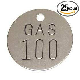 Industrial Grade 2YB73 Valve Tag, SS, GAS, Numbers 76 100, PK 25: Industrial Lockout Tagout Tags: Industrial & Scientific