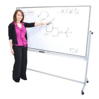 "Offex Mobile 72"" x 40"" Double Sided Magnetic White Board With Silver Frame 4 Casters : Electronic White Boards : Office Products"