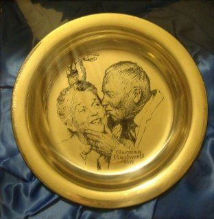 "Norman Rockwell 1971 Franklin Mint Sterling Silver Christmas Plate ""Under the Mistletoe"": Everything Else"