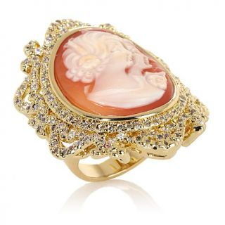 "AMEDEO NYC® ""Uncinetto"" 25mm Cornelian Cameo CZ Frame Ring"