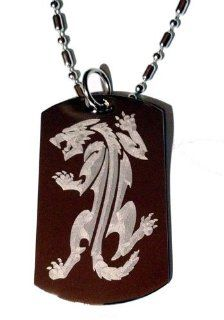 Tribal Fierce Fox Prowling Tattoo Logo Symbols   Military Dog Tag Luggage Tag Key Chain Keychain Metal Chain Necklace: Pet Supplies