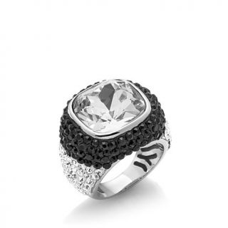 Sigal Style Black and White Pavé Cushion Cut Ring