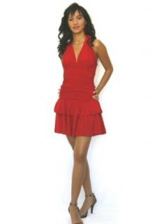 d013 Sexy Mini Halter Dress with Double Ruffle Hem, small, red at  Women�s Clothing store
