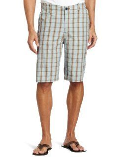 Lucky Brand Men's Flat Front Plaid Short, Navy, 29 at  Men�s Clothing store