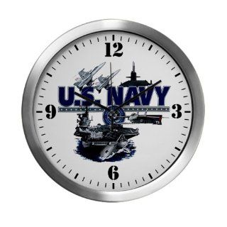 Modern Wall Clock US Navy with Aircraft Carrier Planes Submarine and Emblem