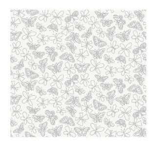 York Wallcoverings Girl Power 2 Glitter Butterfly 8 x 10 Wallpaper Memo Sample White/Grey