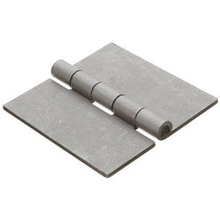 "Steel Surface Mount Butt Hinge without Hole, Unplated Finish, 0.130"" Leaf Thickness, 3 29/32"" Open Width, 17/64"" Pin Diameter, 4"" Long, Removable Pin (Pack of 1): Industrial & Scientific"
