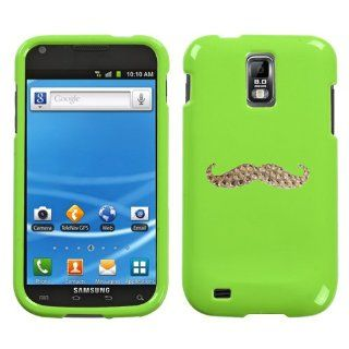 Lime Green Light Green and White Crystal Rhinestone Bling Bling Funny Mustache for Samsung Galaxy S2 T989 T mobile Snap on Hard Plastic Durable Case Cover: Everything Else