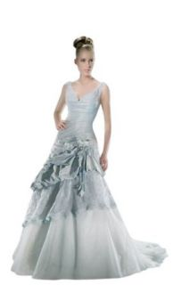 Biggoldapple A line/princess V neck Court Train Wedding Dress 286x: Clothing